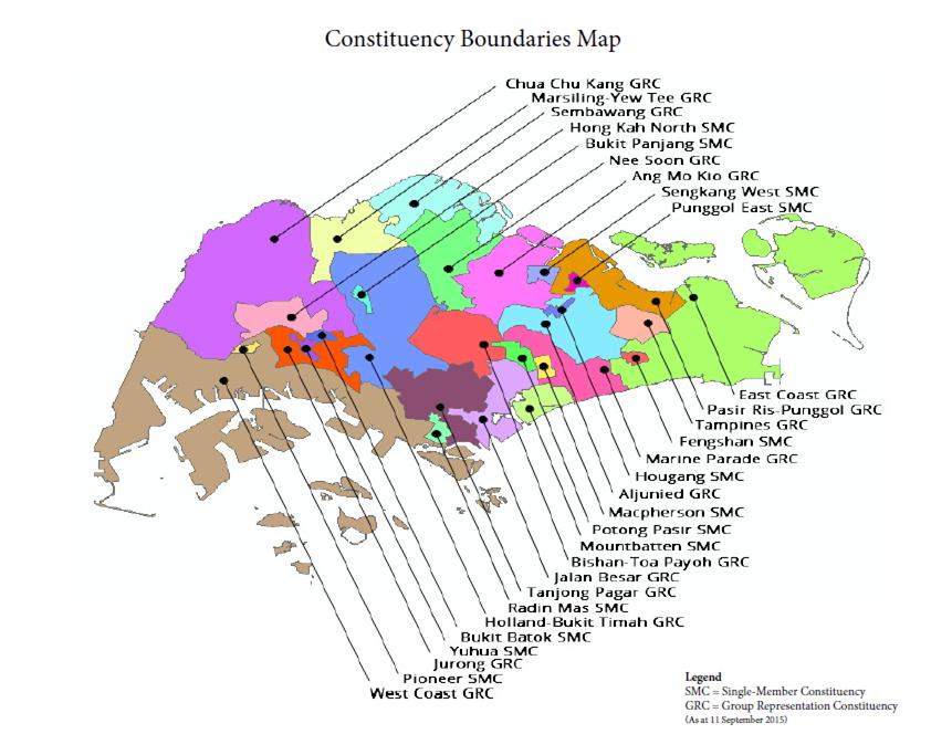 シンガポール地図 選挙区